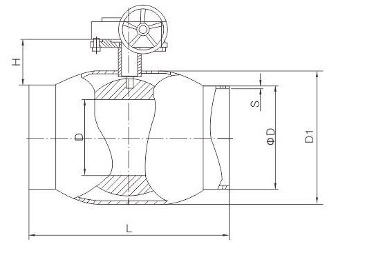 蜗轮全焊接球阀结构图.jpg